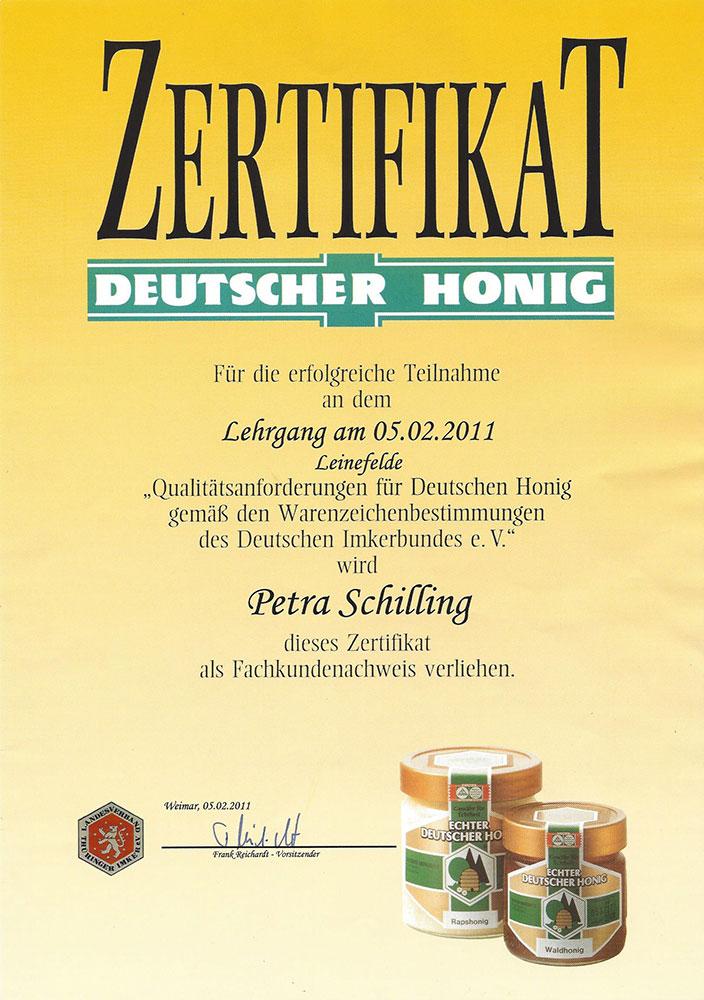 Zertifikat Deutscher Honig